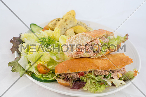 A plate with a tuna sandwich, salad and potatoes