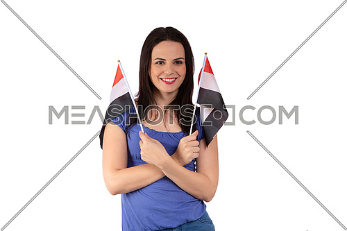a female girl supporting Egyptian football team