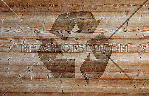 Background texture of old vintage brown weathered horizontal knotted wooden planks with recycling logo icon