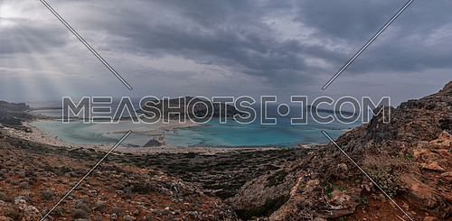 Beach Balos in Crete, Greece. Turquoise sea and the sandy beach are a magical and popular tourist destination.