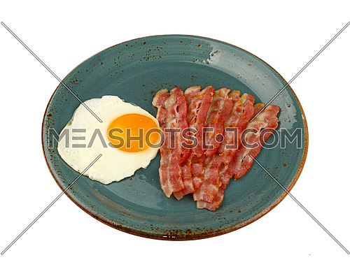 Close up English breakfast, sunny side egg and roasted bacon slices on blue plate isolated on white background, high angle view