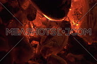 Close up of flames and fiery coals