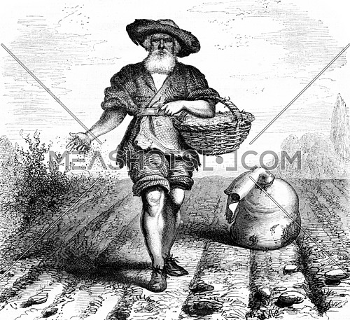 Farmer scattering seeds on a field. Engraving by J.M. Metelli. Drawing by Hernault. From Magasin Pittoresque, vintage engraving, 1867.