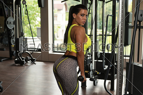 Mexican Woman Athlete Doing Heavy Weight Exercise For Triceps