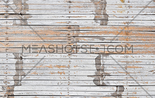 Vintage wooden texture of white painted natural old grunge dirty aged bamboo wood planks with gaps, close up