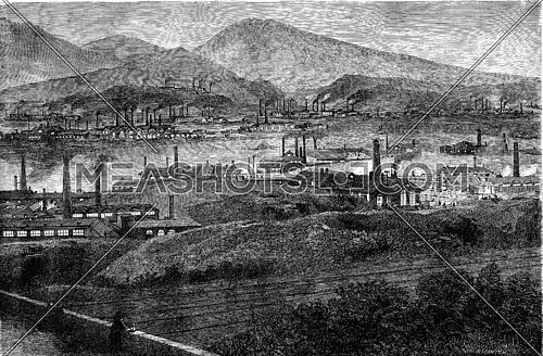 Factories in the Taff Valley, vintage engraved illustration. Le Tour du Monde, Travel Journal, (1865).