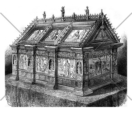 The shrine of holy Rolende, in Gerpinnes, Hainaut province, vintage engraved illustration. Magasin Pittoresque 1878.