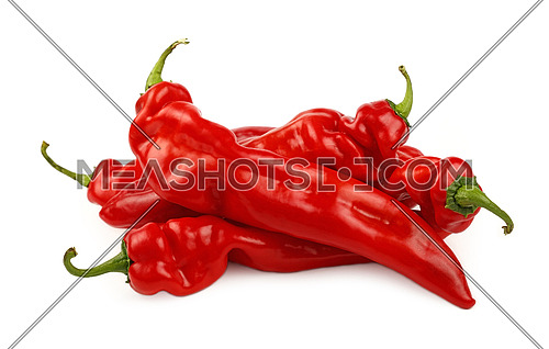 Group of several whole fresh red sweet paprika peppers isolated on white background, close up, high angle view