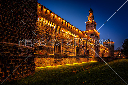 beautiful castle in the heart of Milan, this is Sforza castle middle ages.
