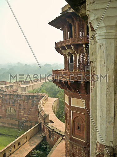 Jahangir Mahal in walled city.  Agra World Heritage site in Agra, India.