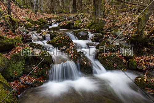 Beautiful river waterfall in autumn forest, a small waterfall part in Rhodope Mountains, Bulgaria