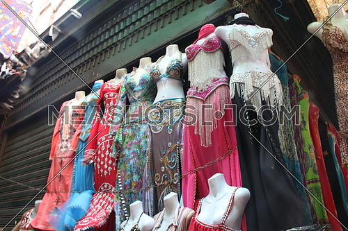 Egypt , old Cairo markets, a photo for a gift shop selling traditional belly dance suits & other cloths