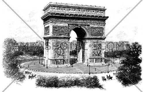 Triumphal arch of the star, vintage engraved illustration. Paris - Auguste VITU – 1890.