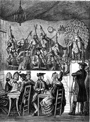 The Big Blind at St. Ovide Fair in the Place Louis XV, vintage engraved illustration. Magasin Pittoresque 1878.