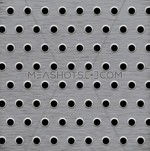 Vector illustration square background mesh pattern of holes in grey brushed metal surface