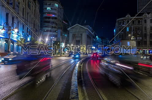 Fixed shot for Stock Market Bulding in Alexandria at night