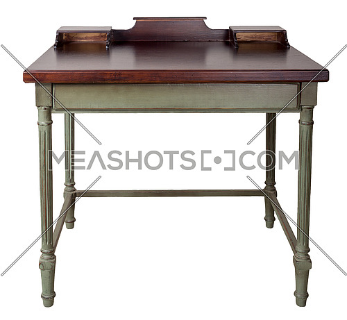 Vintage Furniture - Retro wooden desk table with two built-in trays, dark brown top and light green legs isolated on white background including clipping path