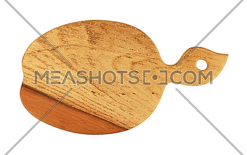 Close up of one new apple shaped brown wooden cutting board with vivid woodgrain, isolated on white background
