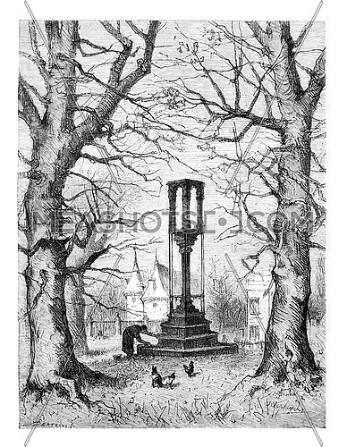 Pillory of Braine-le-Chateau in Wallonia, Belgium, drawing by Verheyden, vintage illustration. Le Tour du Monde, Travel Journal, 1881