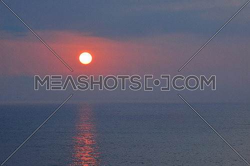 beautiful sunrise or sunset at ocean sea