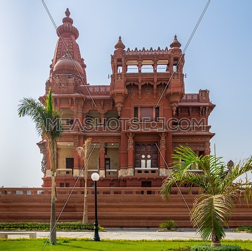 Front view of rear facade of Baron Empain Palace, a historic mansion inspired by the Cambodian Hindu temple of Angkor Wat, located in Heliopolis district, Cairo, Egypt
