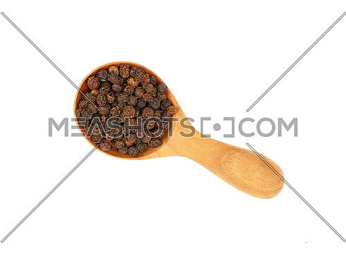 Close up one wooden scoop spoon full of black pepper peppercorns isolated on white background, elevated top view, directly above