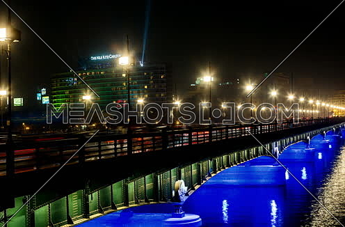Track Right Shot for Qasr Al Nile Bridge at Night
