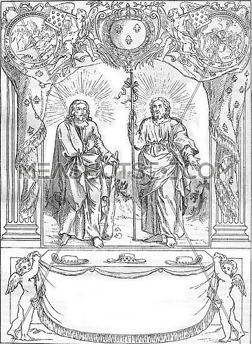 A prayer addressed to the bosses of brotherhood, St. Jacques and St. Philip, vintage engraved illustration. Magasin Pittoresque 1880.