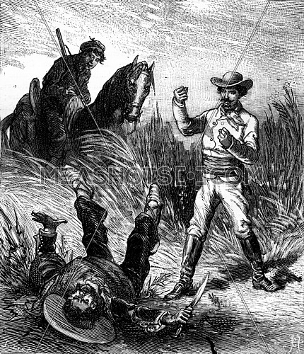 Bandits of the sea. The gaucho fell on his back, vintage engraved illustration. Journal des Voyages, Travel Journal, (1879-80).