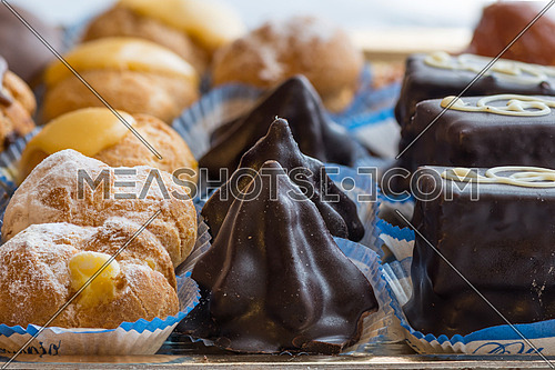 In the pictured colorful pastries with candied,cream and chocolate, the real Italian confectionery.