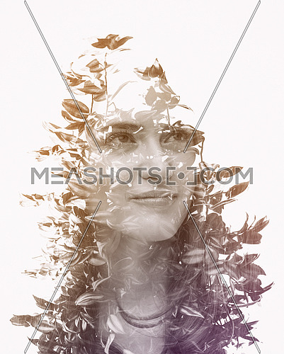Double exposure of young beautyful girl and forrest