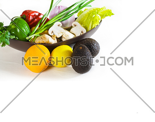 assorted fresh vegetables and fruits, base for a healty diet and nutruition
