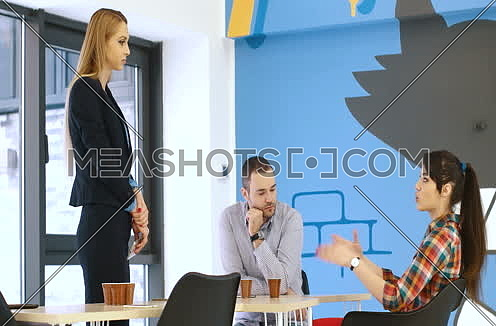 business team meeting in modern start up office and branistorming about new  business plan
