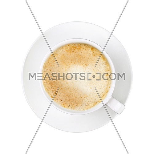 Close up one full white cup of frothy latte cappuccino coffee on saucer isolated on white background, elevated top view, directly above