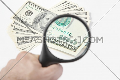 Magnifying Glass on the one hundred American Dollars