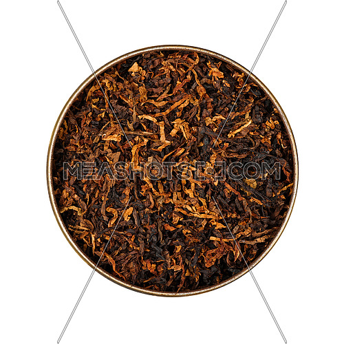 Close up round tin of ready rubbed long coarse cut pipe tobacco blend, isolated on while background, elevated top view, directly above