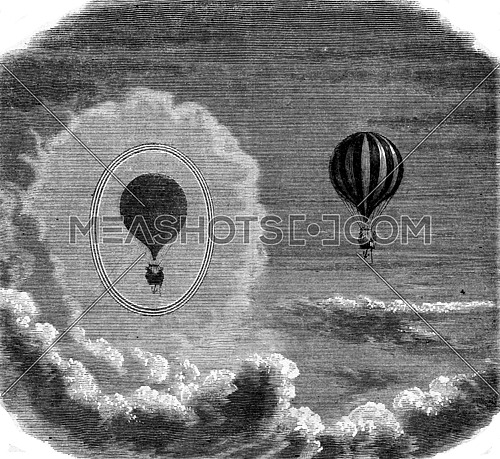 Optical phenomenon observed on 8 June 1872 by Messrs against the Admiral Baron Roussin and Gaston Tissandier in a aerostatic ascension, vintage engraved illustration. Magasin Pittoresque 1873.
