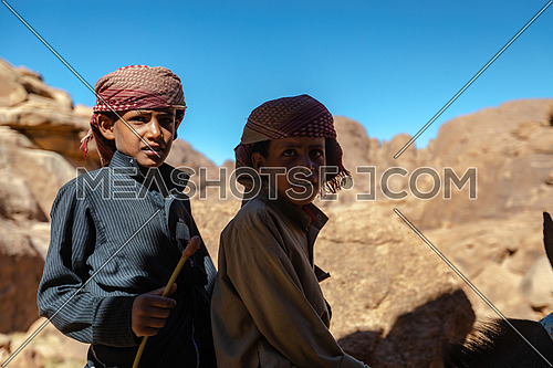 Bedouin children riding a donkey at Sinai Mountain by day