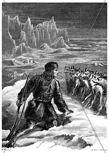 On ice with wolves, pale with terror, he takes a moment off, vintage engraved illustration. Journal des Voyage, Travel Journal, (1880-81).