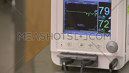 Close up shot for Computer monitor for vital signs and a hand holding injection pass through