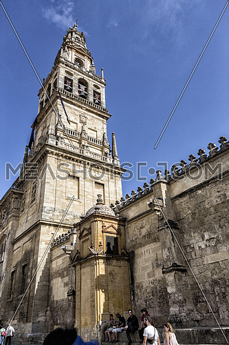 CORDOBA, SPAIN - September, 27, 2015: Exterior of Mezquita-Catedral, a medieval Islamic mosque that was converted into a Catholic Christian cathedral, UNESCO World Heritage Site, Cordoba, Spain