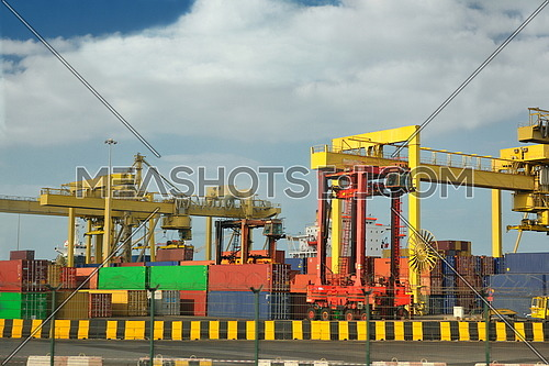 large container ship leaving the container port terminal