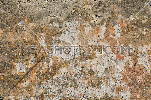 Dirty grunge grey wall with scaling peeling plaster and rusty brown stains, sags and cracks, texture background