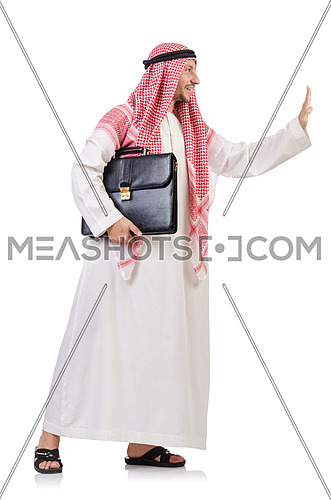 Arab businessman  with briefcase  pushing away virtual obstacle  isolated on white