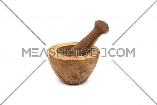 Wooden rustic style mortar and pestle isolated on white background