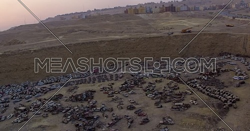 Fly over Shot for Wrecking yard from over Al Mukattam Mountain in cairo at Day