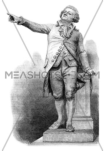 1869 Sculpture Show, Marble statue of Mirabeau, for the city of Aix, vintage engraved illustration. Magasin Pittoresque 1870.