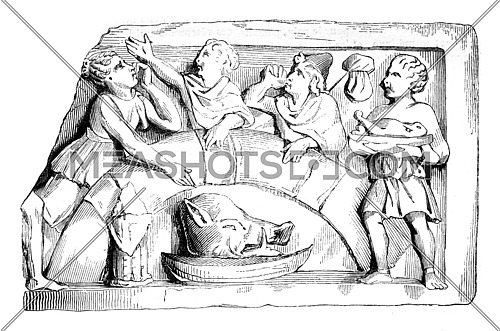 Gallic meal. D'after a relief discovered in Paris, vintage engraved illustration. Magasin Pittoresque 1842.