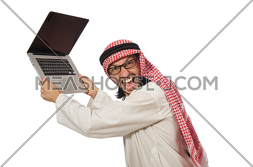 Arab man with laptop isolated on white