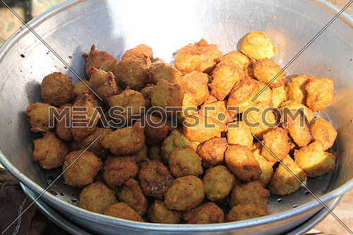 Popular food (taghmeya) made from beans minced with vegetables